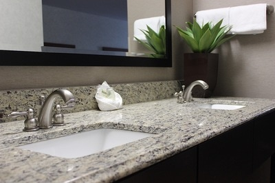 Modern bathroom vanity with beautiful marble counter top